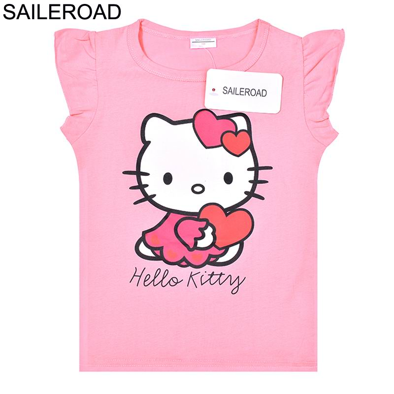 c9e68116c SAILEROAD Summer Children 2018 New Hello Kitty Baby Girls T Shirts Kids  Tops Tees Girls Dot