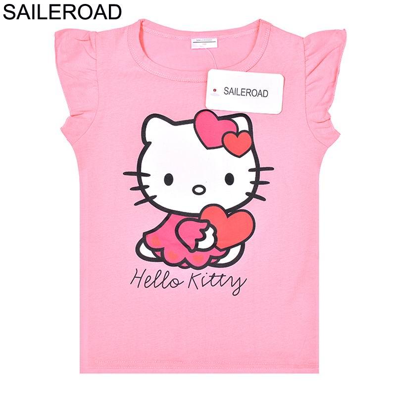 5bd9399f7af8 SAILEROAD Summer Children 2018 New Hello Kitty Baby Girls T Shirts Kids Tops  Tees Girls Dot