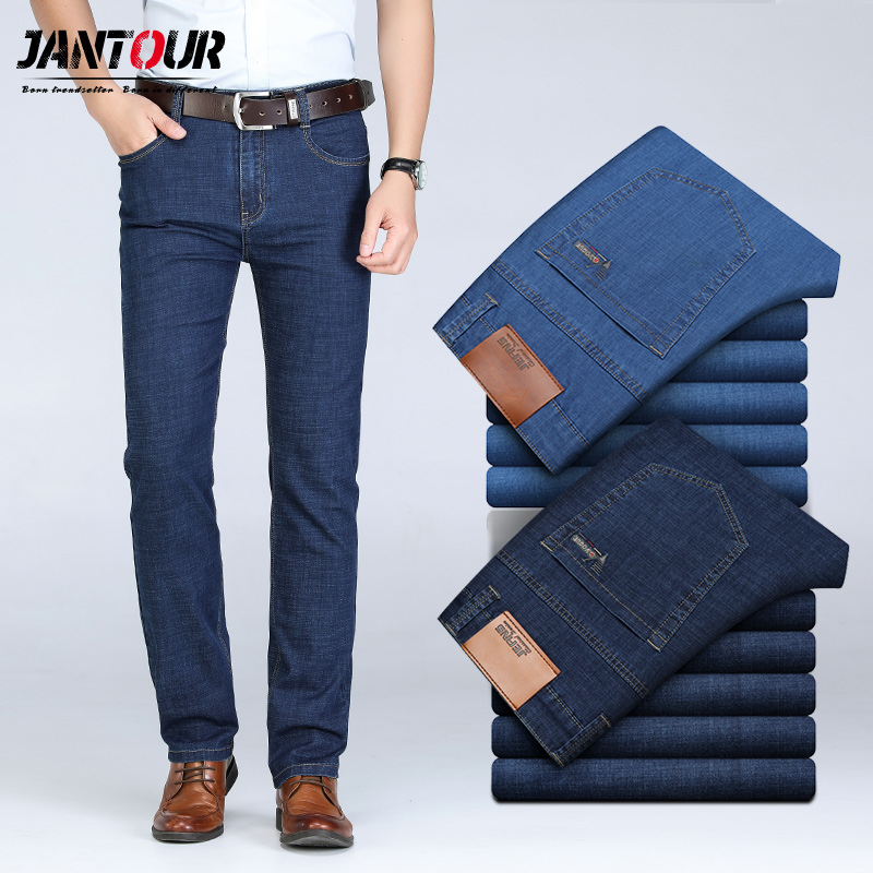 jeans   for mens pants classic denim   jean   men Business Trousers Casual Loose Straight Elasticity pant male Plus Size 40 42 44 46
