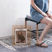 Chic Mesh Metal Table Storage Basket with Handle Nordic Scandinavian Rose Gold Desk Magazine Organizer Home Decor