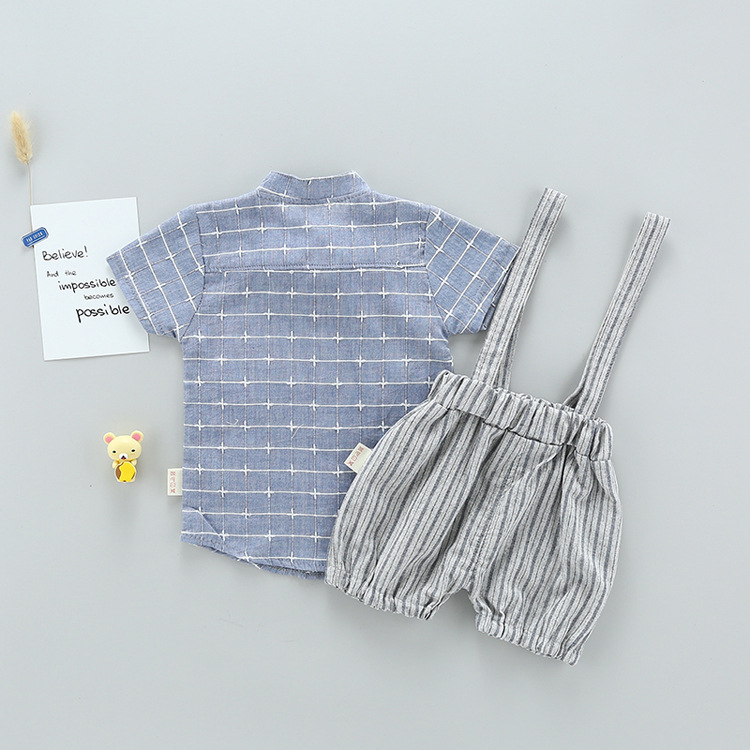 Baby Boy Summer Cothes 2018 New Gentleman Short Sleeve Plaid Shirt + Striped Shorts Fashion Bow Tie Clothing Set 2 Piece