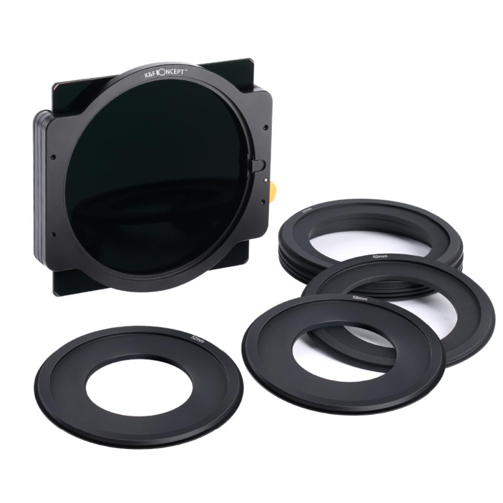 K F Concept ND1000 Square Filter 100x100mm Lens Filter With Metal Holder 7pcs Adapter Rings for
