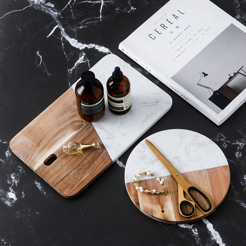 Kitchen accessories marble+ wood board 2