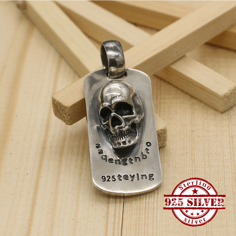 925 sterling silver pendant personality fashion retro punk style engraving skull shape domineering jewelry tag new hot sale corean hot sale fashion and retro style rose shape design necklace