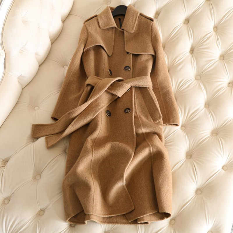 2019 New Winter Long Cashmere Coat Women Trench Coat Autumn 50% Sheep Cashmere + 50% Alpaca Cashmere Slim Office Lady Solid Full