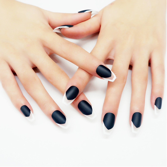 24Pcs Artificial Fake Nails Matte Coffin Oval Transparent Long Full ...