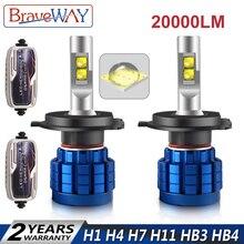 BraveWay 20000LM светодио дный лампа для авто H1 H4 H8 H9 H11 HB3 HB4 9005 9006 H7 светодио дный H7 Canbus H11 светодио дный лампы для автомобилей лампочки automóveis