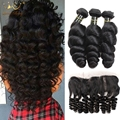 8a Lace Frontal Closure With Bundles Loose Wave Lace Frontal 3 Bundles With Frontal Closure Brazilian Vrign Human With Closure
