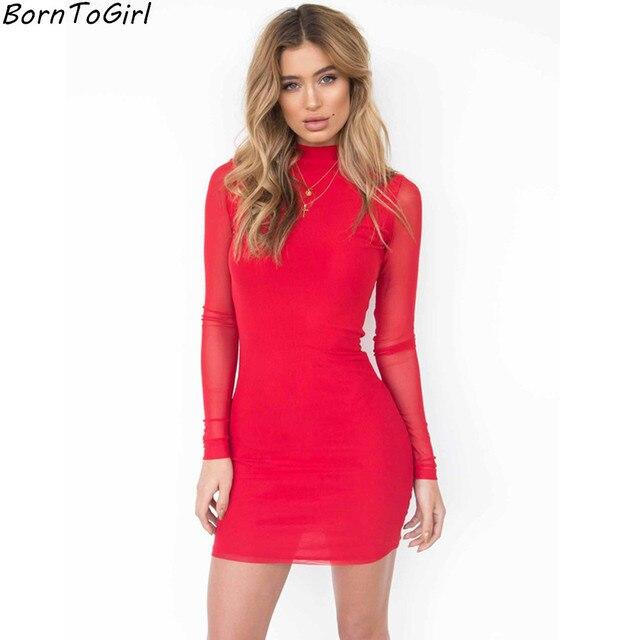 eeb237f48 BornToGirl Women Elastic Slim Sexy Skinny Dresses 2017 Autumn Winter Female  Mesh-Sleeve Black Yellow