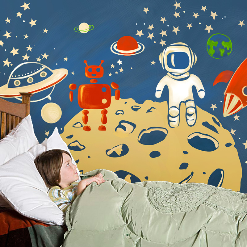 Mural Children room large murals kindergarten background wall 3D wallpaper murals seamless 3D 3D wallpaper space exploration wallpaper 3d murals planet space mural photo
