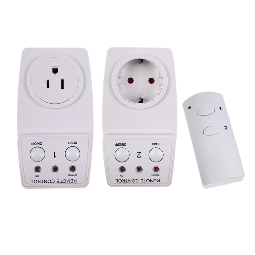 Wireless Smart Remote Control Outlet 2 Pack AC Power Light Switch Socket Plug EU US Plug with Remote Smart Home Indoor Use smart home us black 1 gang touch switch screen wireless remote control wall light touch switch control with crystal glass panel