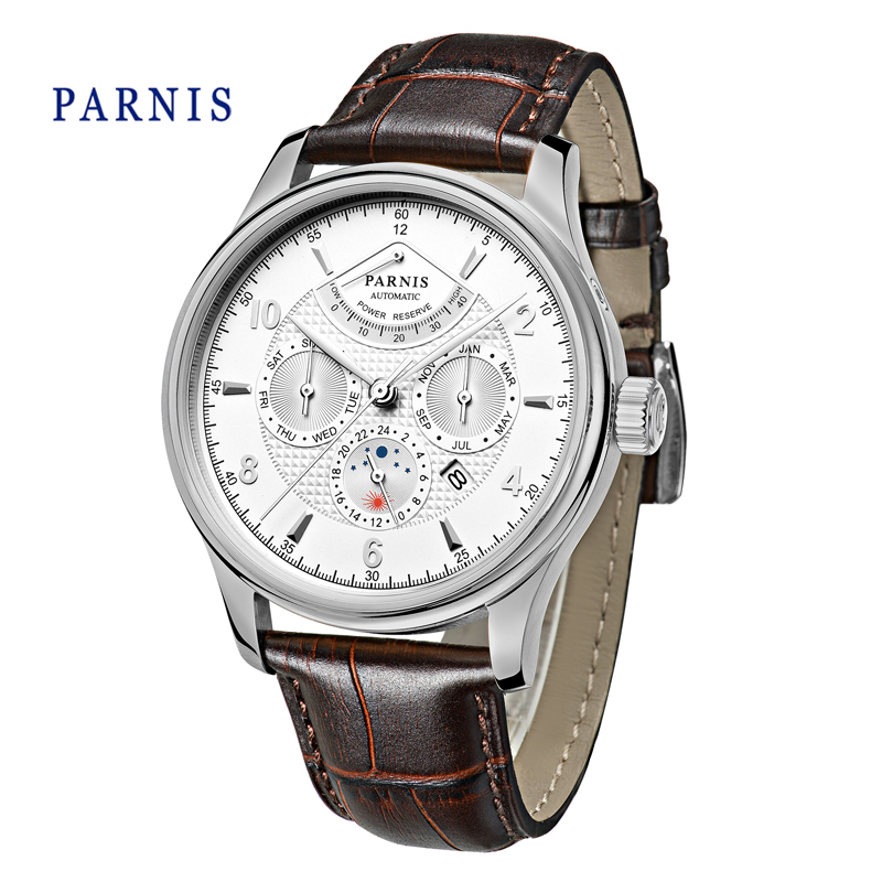 42mm Parnis Automatic Watch Men Newest Power Reserve Mechanical White Dial Silver Hands Moon Phase Casual Man WristWatch casual 43mm parnis automatic power reserve white dial blue numbers silver watch case business watch men