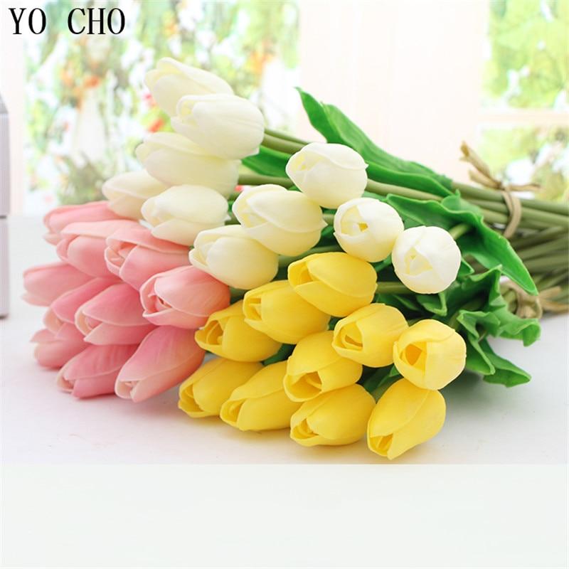 YO CHO 3 unids Mini Tulipanes Flores Artificiales PU Toque Real Flor - Para fiestas y celebraciones - foto 1
