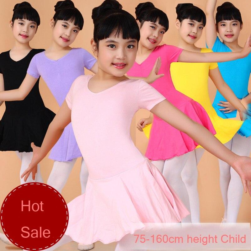 2-13Y Girls Lycra Cotton Training/Excerise Clothes Discount Gymnastics Leotard Jupe Ballerina Dress Kid Solid Ballet Dance Dress
