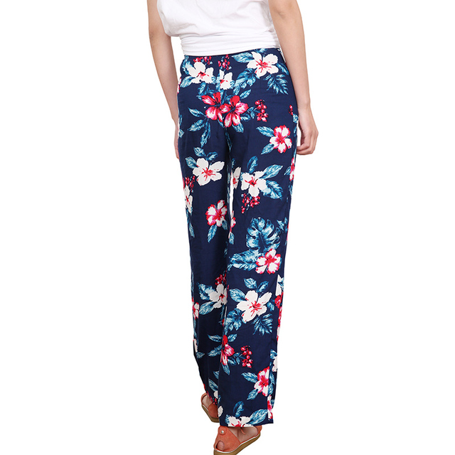 Floral Print Loose Retro Comfortable Casual Ladies Trousers 3