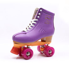 Hot Sale Quad Roller Skates Double Line 4 Wheels Purple Skating Shoes for Women Men Cow Leather Skates Boots