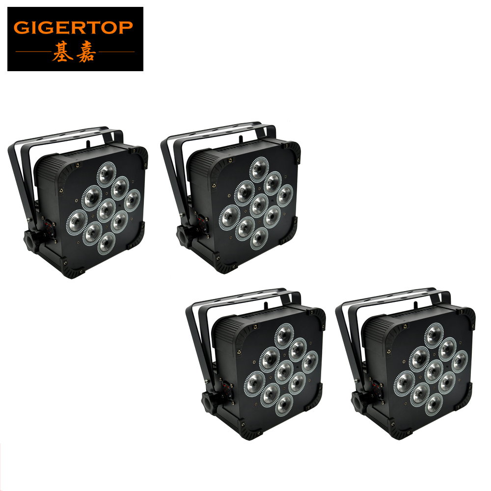 4stk / parti 9x18W 6IN1 RGBWAP Flat Led Par-lampor Trådlöst och batteristöd 8 timmar DMX512,6 / 10Kanal trådlöst platt led-parljus