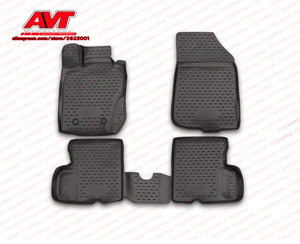 Floor mats case for Nissan Terrano 2014-2016 4WD 4 pcs rubber rugs non slip rubber interior car styling accessories
