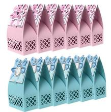 Baby Shower First Birthday Party Candy Bag Cartoon bear feeding bottle Paper Gift Boxes For Charms Favours Presents blue pink