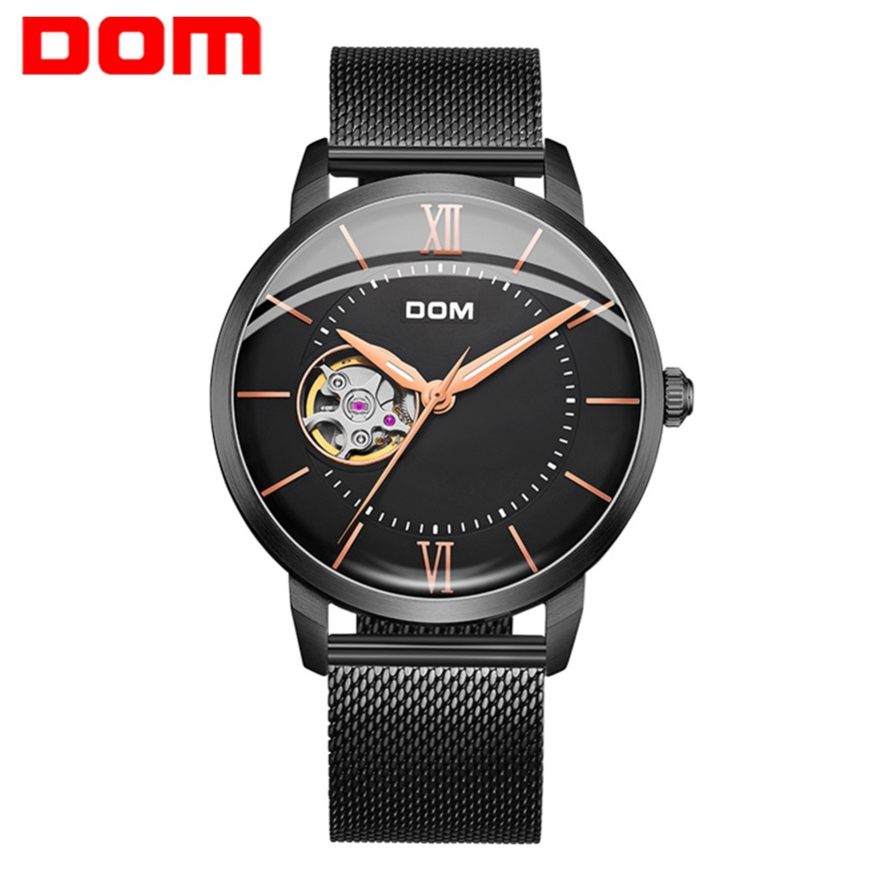 DOM Men Watches Automatic Mechanical Watch Male Tourbillon Clock Black Fashion Skeleton Watch Top Brand Wristwatch Men M-8120
