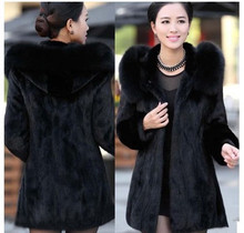2016 S – 6XL Women Winter Hooded Fake Fur Coats Plus Size 6XL 5XL Vintage Artificial Black Faux Fox Fur Coat With Hood Big Size