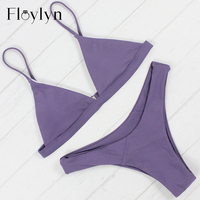 Floylyn Bikini Set 2017 High Quality Swimwear 4 Colors Sexy Bikini Brazilian Bikini Solid Color Exclusive