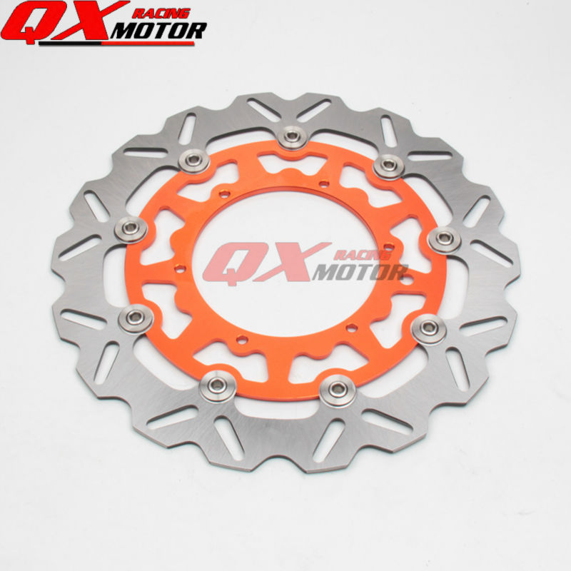 Front Wavy Floating Brake Disc Rotor 320mm For KTM EXC SX SXS SXF XC XCW XCF MXC GS MX MXC EXCG LC4 SIX DAYS Enduro Supermoto orange 120l chain front rear sprockets set for ktm exc excf sx sxf sxs xc xcw xcf xcfw mx mxc lc4 smr six days motocross enduro