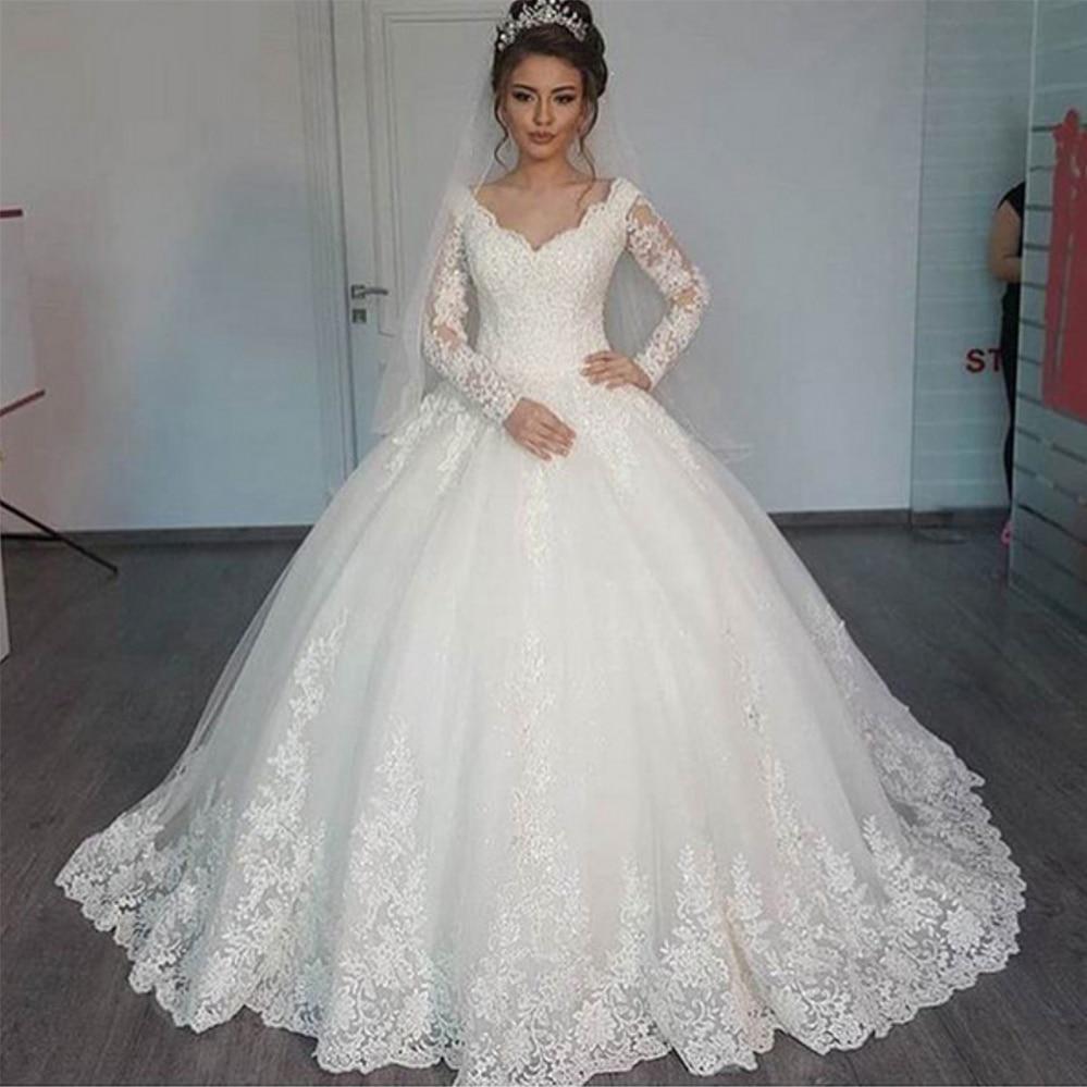Fansmile Vestido De Noiva Long Sleeve V Neck Vintage Ball Gown Wedding Dress 2020 Bridal Tulle Mariage FSM-637T