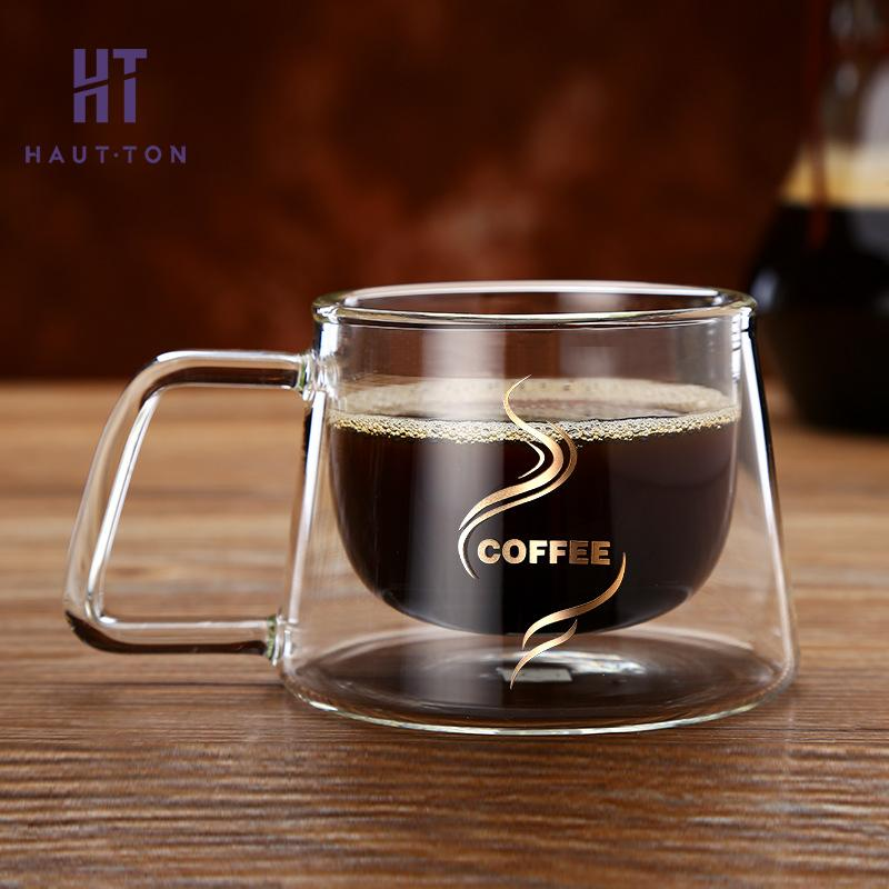 Double glass coffee mug cafe with handle american style for Cool glass coffee mugs