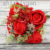 2019 Graceful Red Peony Rose Bridal Bouquets for Wedding Artificial Silk Holding Wedding Flowers Bouquet Fleur Mariage