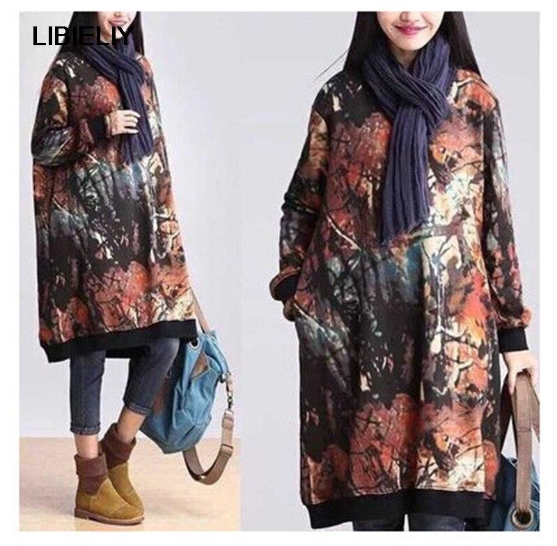 Grande taille Vintage printemps femmes robe imprimer lâche Long coton velours a-ligne robe genou-longueur pleine manches robe femmes TT141