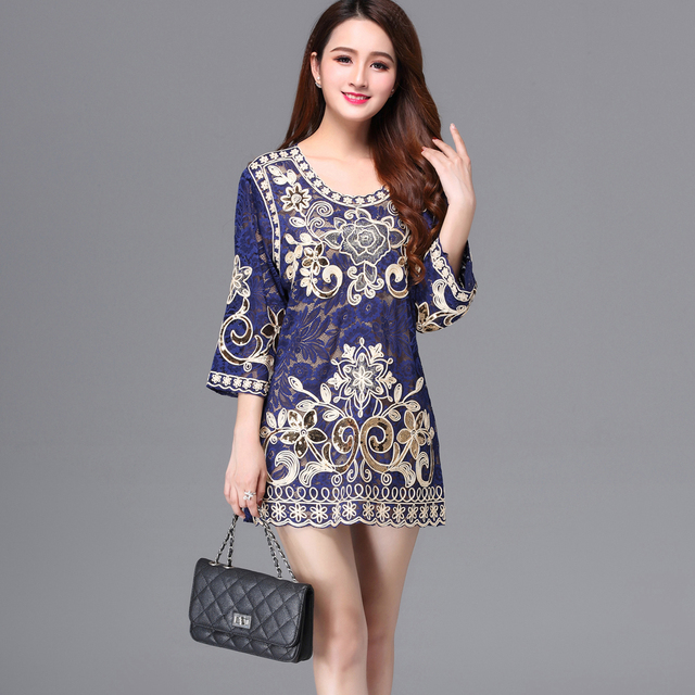 Summer Plus Size 4XL Women Hollow Out Lace Blouse Casual Loose Embroidery  Flower 3 4 Sleeve Long Cord Sequin Shirt Top 91ac5f948027