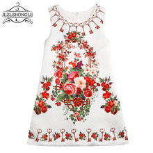 Europan And American Style Floral Print Vest Dresses 2017 Summer Kids Dress For Girls Clothes Birthday/Party Princess Dress