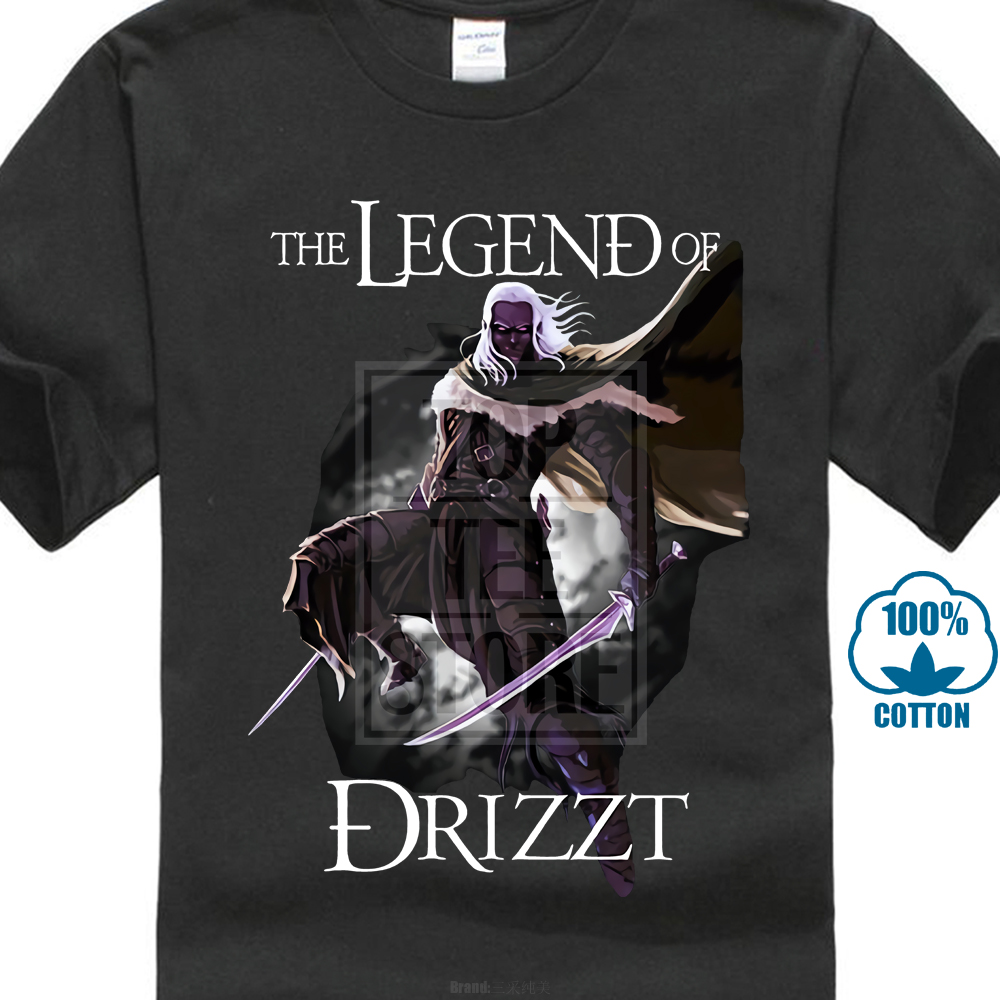 <font><b>Drizzt</b></font> Do'urden The Crystal Shard Forgotten Realms Salvatore T Shirt Pure Gift Round Collar Cartoon image