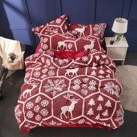 Super soft Fleece fabric comforter bedding sets cartoon elk Duvet Cover Pillowcase Bed Sheet Twin queen king size bed set