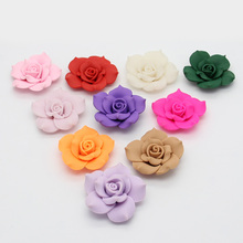 Big Size 5PCS 40mm Mulity Color Flat Back Polymer Clay Fimo Rose Flowers Fit DIY Hair Supplies