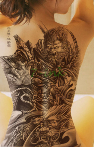 f35b396ce Water Transfer Tattoo Sticker China myth whole back tattoo Handsome Monkey  King Waterproof Temporary Fake Tattoo Flash tattoo-in Temporary Tattoos  from ...