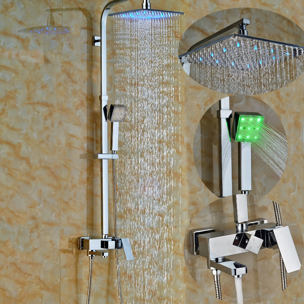Wholesale And Retail LED Color Changing Shower Faucet Sprayer Swivel Spout Tub W/ Hand Shower Mixer