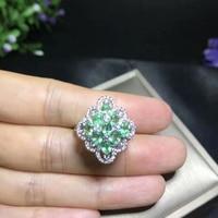 Натуральный Зеленый Изумрудный gem Кольцо природных драгоценных камней кольцо S925 серебро роскошный большой ромб объемного женские подарки