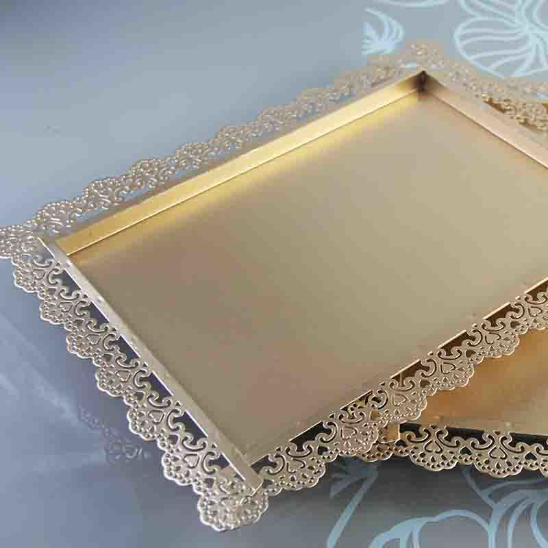 Gold rectangle cake tray stand wedding dessert lace edge plate 26 36 cm cake accessory party