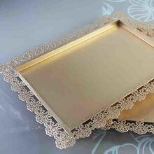 Gold rechteck kuchenbehälter ständer hochzeit dessert spitze rand platte 26*36 cm kuchen zubehör party dekoration werkzeuge für lollipop