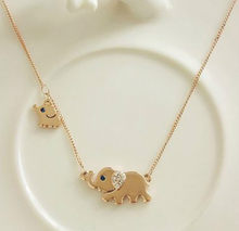 Korean Cute Elephant Family Strolling Design Fashion Feminine Charming Crystal Chain Necklace Punk Wind Statement Necklace(China)