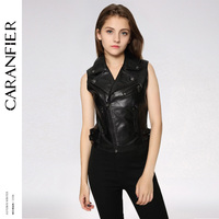CARANFIER 2018 New Women Faux Leather Vest Coats Sleeveless Turn down Collar Zipper Fly Pockets Slim Casual Female Vests 6 Color