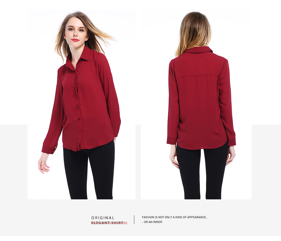 Women's Classic Shirt Chiffon Blouse Loose Long Sleeve Casual Shirts Lady Simple Style Tops 21