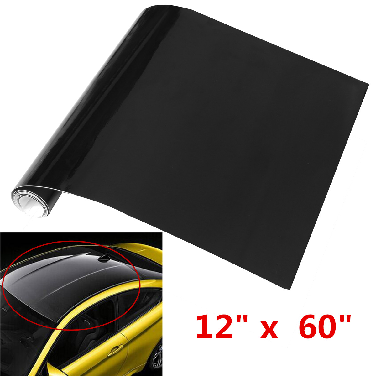 Car Wrap Roll Reflective Sticker Decal Release Air Film Bubble Gloss Vinyl Black DIY Car Styling Exterior Accessories 12*60inch