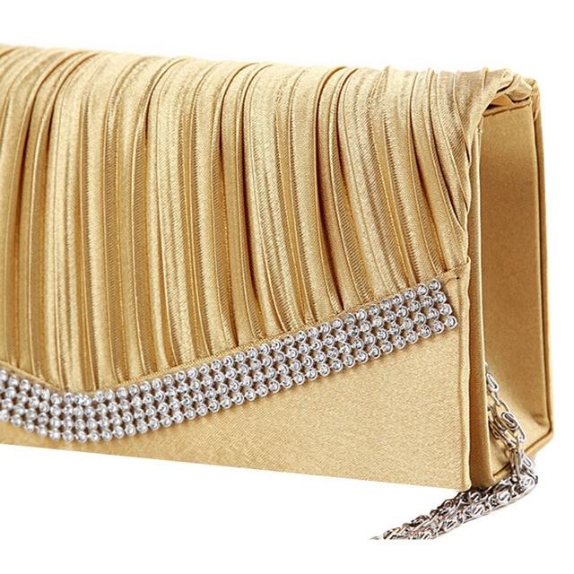 Women Satin Clutch Bag Rhinestone Evening Purse Ladies Day Clutch Chain Handbag Bridal Wedding Party Bag Bolsa Mujer 2018 XA1080 5