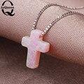 2 Colors 9mm*12mm Fire Hamsa Opal Pendant Cross Shape silver Box Chain Necklace Fine Jewelry for Women FreeShipping