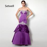Setwell Элегантный Фиолетовый Русалка Вечерние платья Аппликация сексуальное вечернее платье без спинки на заказ мать невесты