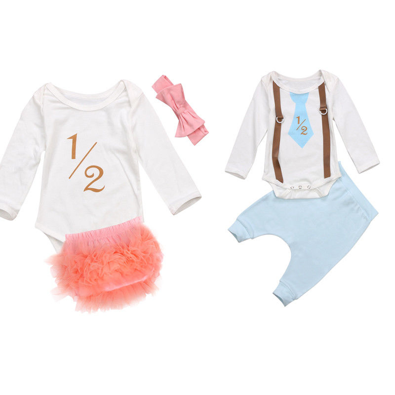 1/2 Print Twins Matching Clothes Set Newborn Baby Girls Boys Romper Tops+Pants 2017 New Hot Sale Bebes Outfit Kids Clothess Set 3pcs set newborn girls christmas clothes set warm hat letter print romper love arrow print pants leisure toddler baby outfit set
