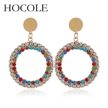HOCOLE New Jewelry Round Circle Rhinestone Earrings For Women Statement Gold Color Brincos Wedding Dangle Drop Earring